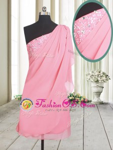 Gorgeous One Shoulder Rose Pink Side Zipper Homecoming Dress Beading Sleeveless