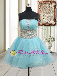 Aqua Blue Sleeveless Mini Length Beading Zipper Prom Dress