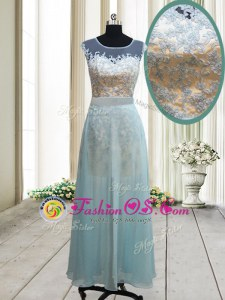 Scoop Light Blue Chiffon Backless Prom Evening Gown Cap Sleeves Ankle Length Lace