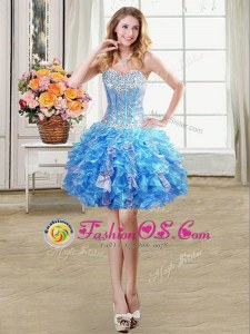 Low Price Baby Blue Homecoming Dress Prom and Party and For with Beading and Ruffles and Sequins Sweetheart Sleeveless Lace Up