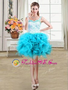 Straps Baby Blue Sleeveless Mini Length Beading and Lace and Ruffles Lace Up Prom Dresses