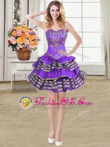 Best Eggplant Purple Prom Party Dress Prom and Party and For with Beading and Embroidery and Ruffled Layers Sweetheart Sleeveless Lace Up