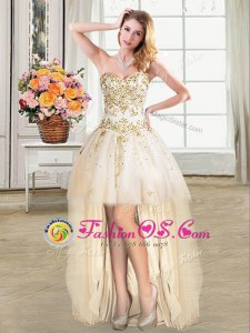 Comfortable Champagne Ball Gowns Tulle Sweetheart Sleeveless Beading High Low Lace Up Prom Dresses