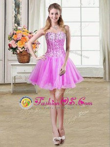 Fancy Lilac Ball Gowns Sequins Prom Evening Gown Lace Up Organza Sleeveless Mini Length