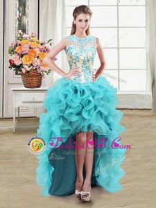 See Through Aqua Blue Zipper Scoop Beading Evening Dress Organza Sleeveless
