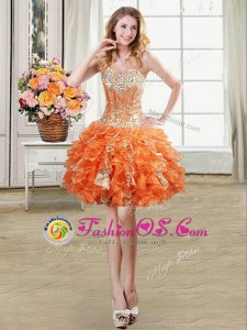 Beading and Ruffles and Sequins Homecoming Dress Orange Lace Up Sleeveless Mini Length