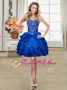 Dramatic Royal Blue Ball Gowns Organza and Taffeta Sweetheart Sleeveless Beading and Embroidery and Pick Ups Mini Length Lace Up Prom Dress