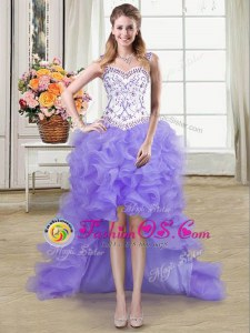 Taffeta Sweetheart Sleeveless Lace Up Beading and Embroidery and Ruffled Layers Prom Dresses in Blue