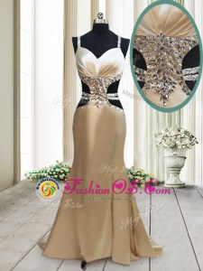Elegant Mermaid Champagne Criss Cross Straps Beading Evening Wear Elastic Woven Satin Sleeveless Sweep Train