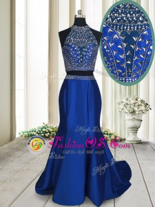 Captivating Sleeveless Sweep Train Beading Criss Cross Celebrity Prom Dress