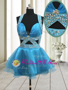 Halter Top Sleeveless Mini Length Beading Backless Prom Dresses with Baby Blue