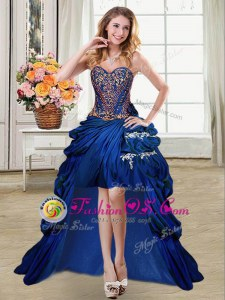 Sleeveless High Low Beading and Appliques and Pick Ups Lace Up Celebrity Prom Dress with Royal Blue