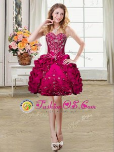 Trendy Sleeveless Mini Length Beading and Embroidery and Pick Ups Lace Up with Fuchsia