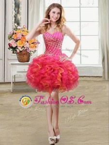 Sweetheart Sleeveless Lace Up Homecoming Dress Multi-color Organza