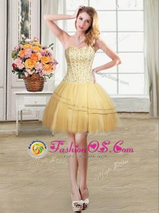 Gold Dress for Prom Prom and Party and For with Beading and Sequins Sweetheart Sleeveless Lace Up