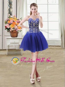 Enchanting Royal Blue Prom Party Dress Prom and Party and For with Beading and Sequins Sweetheart Sleeveless Lace Up
