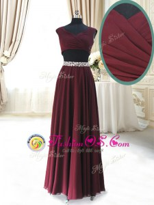 Edgy Burgundy V-neck Zipper Beading and Belt Prom Evening Gown Cap Sleeves