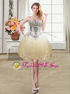 Sweet Champagne Lace Up Sweetheart Beading and Lace and Sequins Prom Gown Tulle and Lace Sleeveless