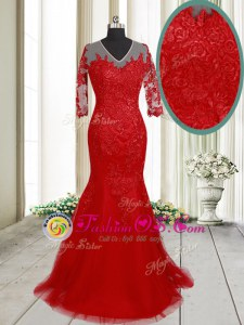 Mermaid Clasp Handle V-neck Half Sleeves Homecoming Dress With Brush Train Lace Red Tulle
