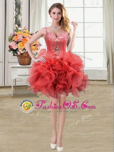 Sexy Organza Straps Sleeveless Lace Up Beading and Ruffles Prom Evening Gown in Coral Red