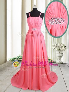 Straps Pink Sleeveless Chiffon Brush Train Lace Up Prom Gown for Prom
