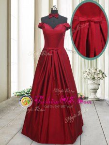Exquisite Off the Shoulder Wine Red Sleeveless Taffeta Lace Up for Prom