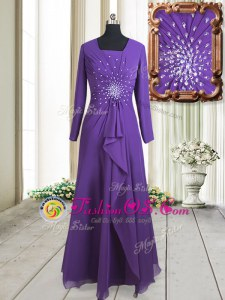 Dynamic Floor Length Purple Homecoming Dress Square Long Sleeves Zipper
