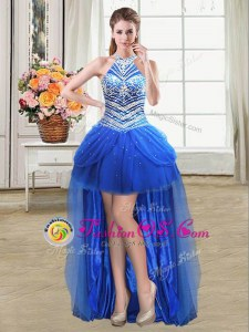 Wonderful Royal Blue Tulle Lace Up Halter Top Sleeveless High Low Prom Dresses Beading and Pick Ups