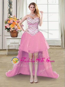 Flirting Pink Organza Lace Up Sweetheart Sleeveless High Low Going Out Dresses Beading