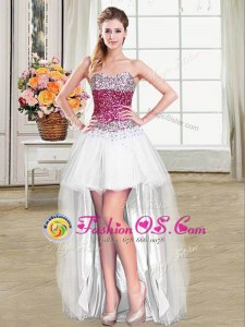 White Tulle Lace Up Celebrity Inspired Dress Sleeveless High Low Beading
