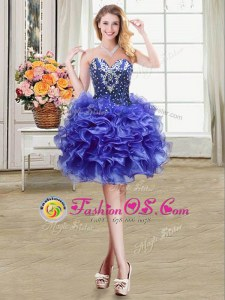 Sleeveless Lace Up Mini Length Beading and Ruffles Dress for Prom