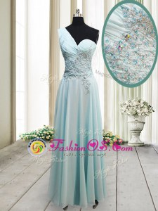 Best One Shoulder Ankle Length Side Zipper Hoco Dress Light Blue and In for Prom and Party with Beading and Appliques