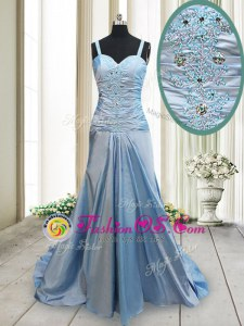 Deluxe Elastic Woven Satin Straps Sleeveless Sweep Train Criss Cross Beading Prom Party Dress in Light Blue