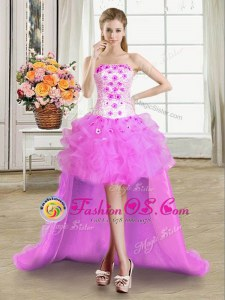 Lilac Tulle Lace Up Strapless Sleeveless High Low Homecoming Dress Beading and Appliques and Ruffles