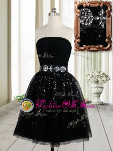 Fantastic Sequins Black Sleeveless Tulle Zipper Prom Party Dress for Prom and Party