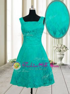 Square Sleeveless Mini Length Lace Zipper Dress for Prom with Turquoise