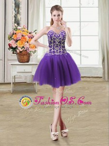 Cute Tulle Sweetheart Sleeveless Lace Up Beading and Sequins Prom Dresses in Purple