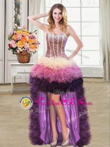 Sleeveless Organza High Low Lace Up Homecoming Dress in Multi-color for with Beading and Ruffles