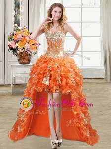 Sleeveless High Low Beading and Ruffles and Sequins Lace Up Prom Evening Gown with Orange
