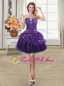 Dynamic Pick Ups Mini Length Purple Prom Dress Sweetheart Sleeveless Lace Up