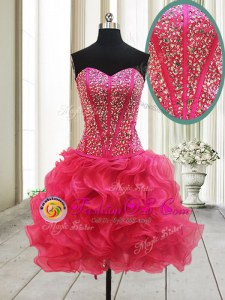 Superior Sweetheart Sleeveless Lace Up Prom Dress Hot Pink Organza