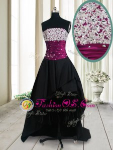 Clearance Black A-line Taffeta Strapless Sleeveless Beading High Low Lace Up Prom Party Dress
