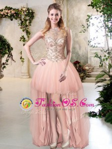 Attractive Scoop Peach Sleeveless Tulle Zipper Evening Dress for Prom