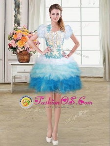 Discount Sweetheart Sleeveless Lace Up Prom Gown Multi-color Organza