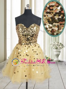 Exceptional Gold Sleeveless Sequins Mini Length Prom Gown