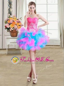 Ideal Sweetheart Sleeveless Organza and Tulle Prom Gown Beading and Ruffles Zipper
