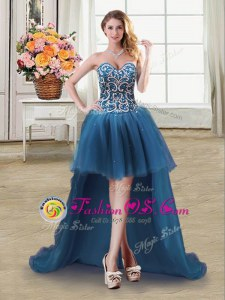 Clearance Sleeveless Tulle High Low Lace Up Prom Dresses in Teal for with Beading and Sequins