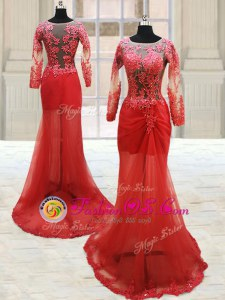 Delicate Red Scoop Neckline Appliques Prom Evening Gown Long Sleeves Side Zipper