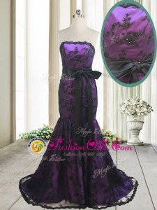 Perfect Mermaid Purple Satin and Lace Lace Up Homecoming Dress Sleeveless With Train Sweep Train Bowknot and Belt