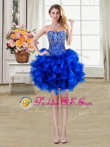 Admirable Sleeveless Beading and Ruffles Lace Up Prom Dress